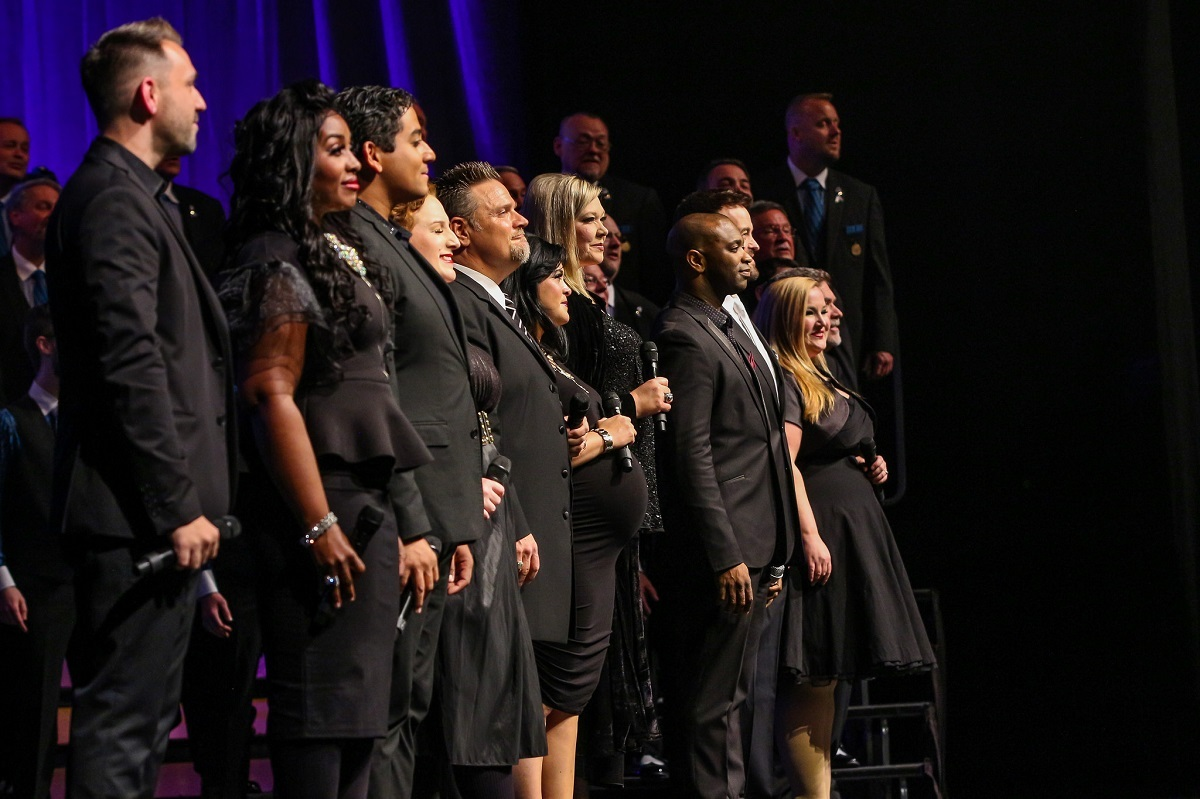 Voctave performs at the Saturday Night Spectacular during the 2018 International Convention in Orlando, Florida.
